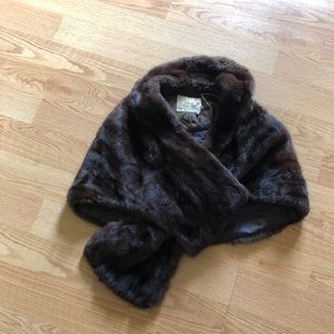 Vintage fur shawl one size mink brown